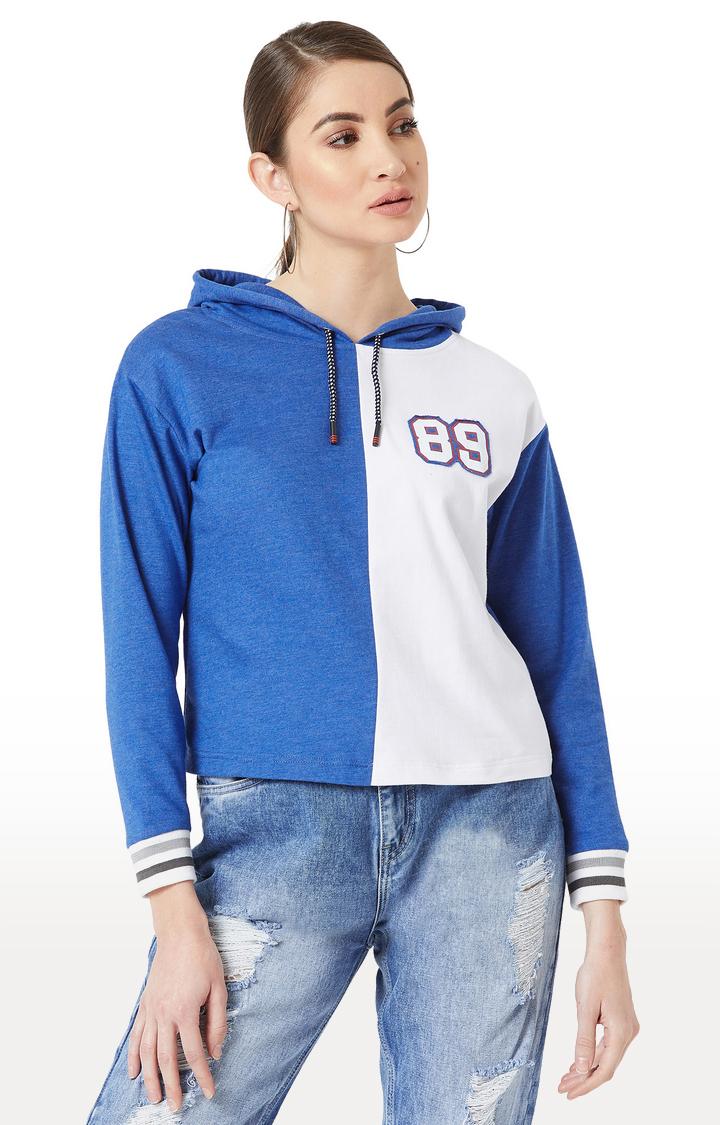 MISS CHASE | Blue Colourblock Sweatshirt