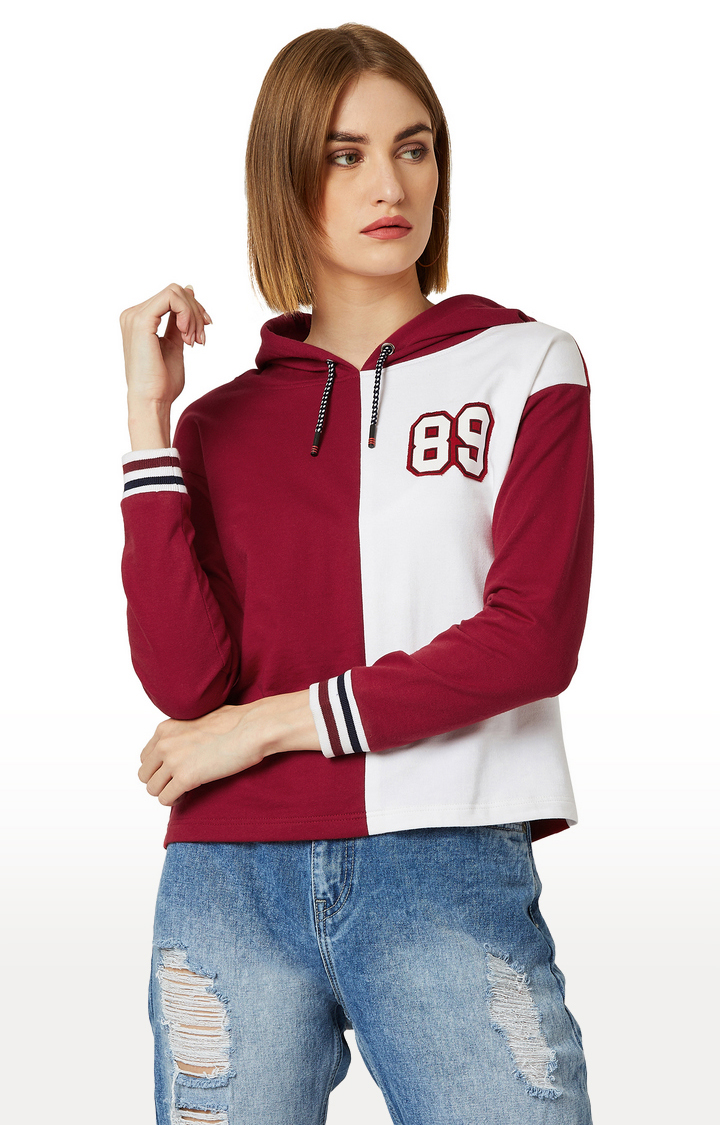 MISS CHASE   Maroon and White Colourblock Hoodie
