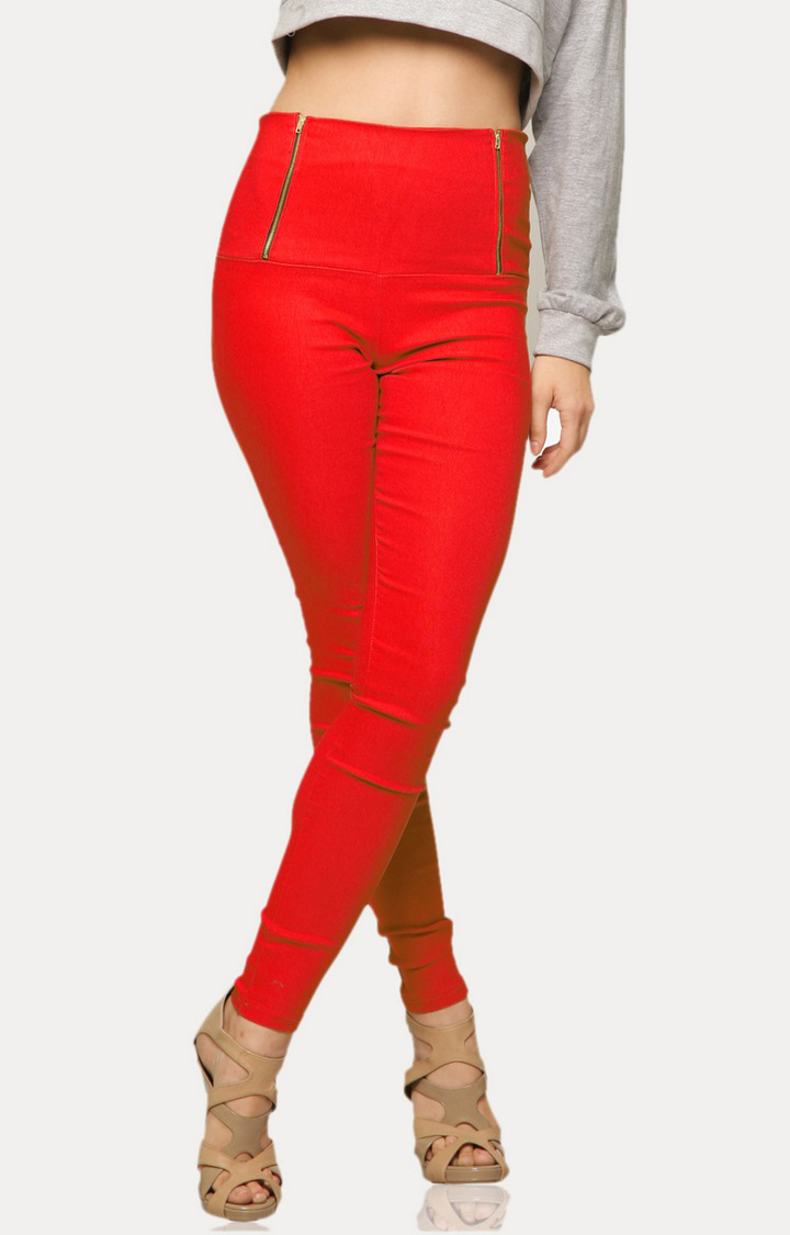 Red High Waist Jeggings