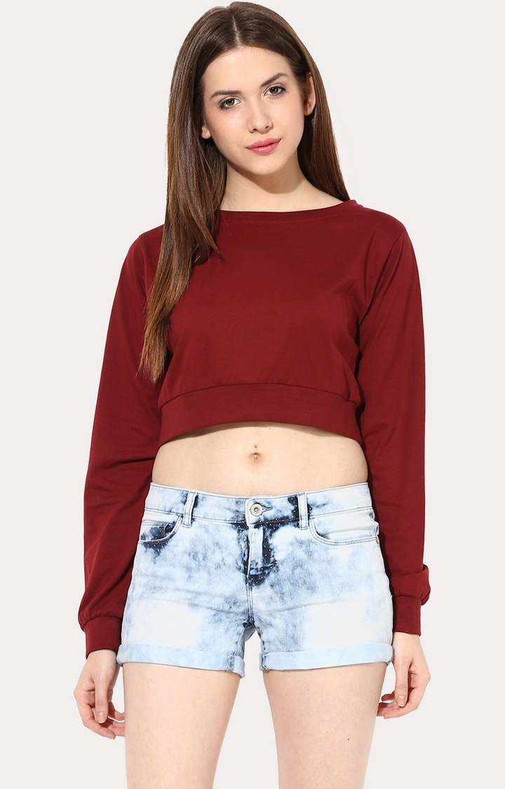 MISS CHASE | Maroon Big Is Beautiful Oversized Top