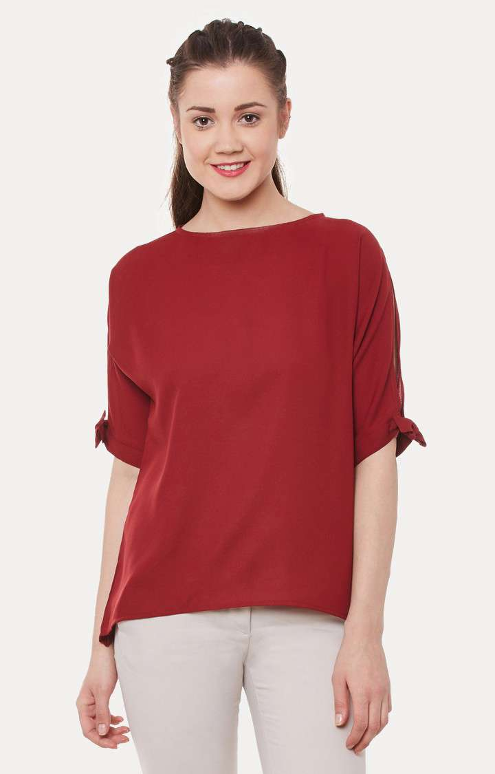 MISS CHASE | Maroon Round Neck Half-Sleeve Tie-up Knot Top