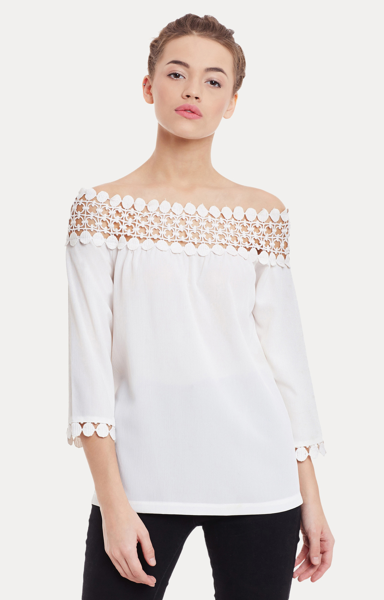 MISS CHASE | White Solid Off Shoulder Bardot Top