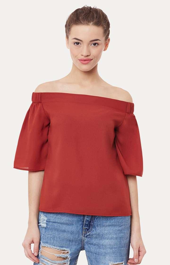 MISS CHASE   Brick red Half-Sleeve Solid Bardot Top