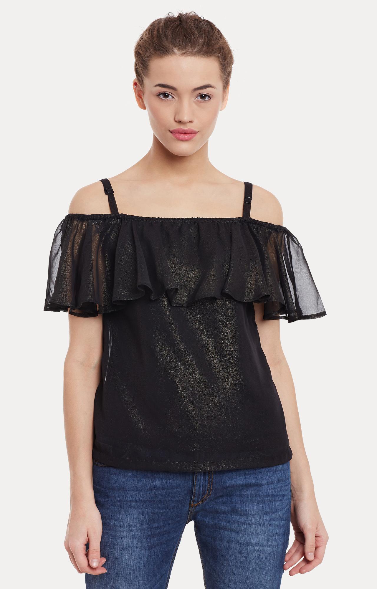 MISS CHASE | Black Embellished Top