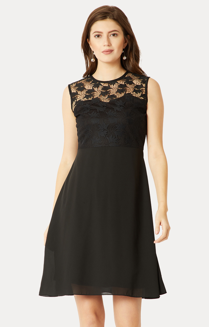 MISS CHASE | Black Solid Lace Skater Dress