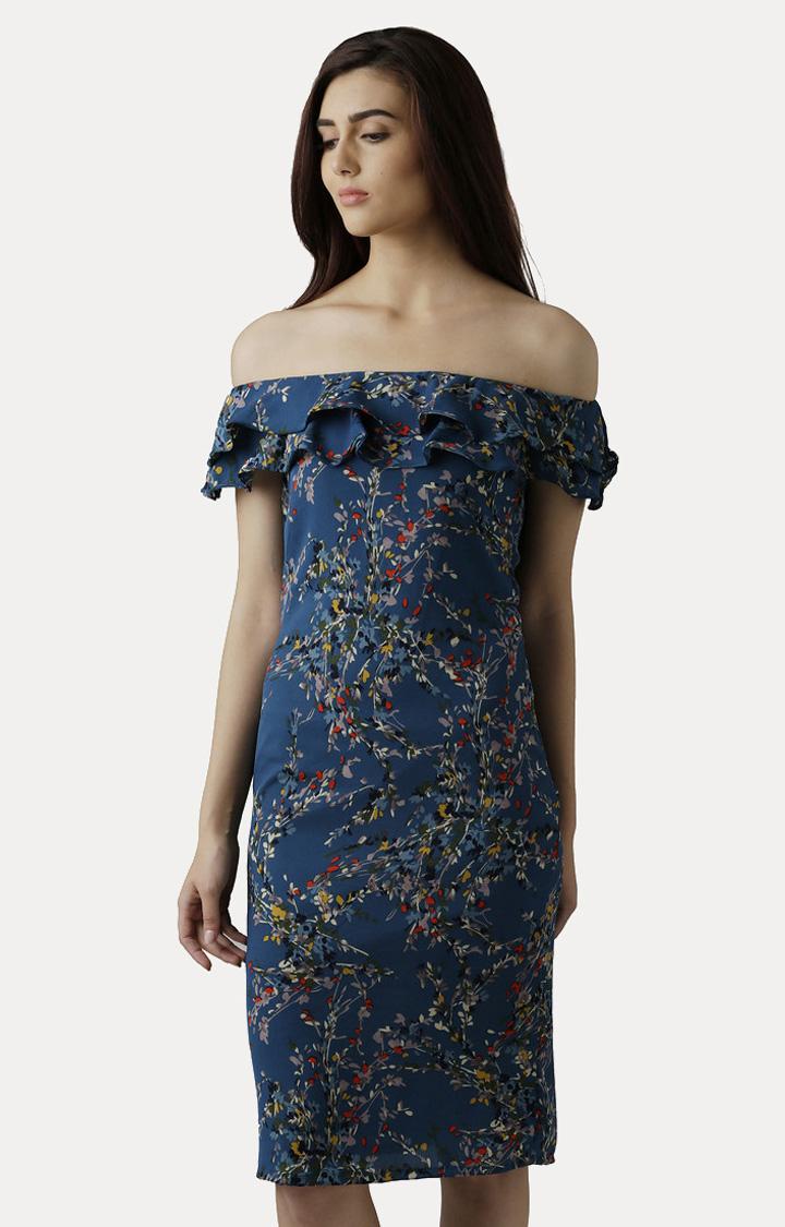 MISS CHASE   Multicoloured Off-Shoulder Knee-Length Bardot Ruffled Floral Shift Dress