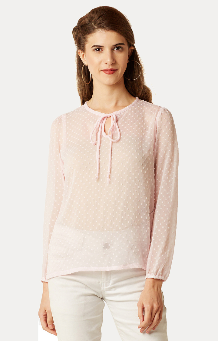 MISS CHASE | Pink Solid Tassel Top