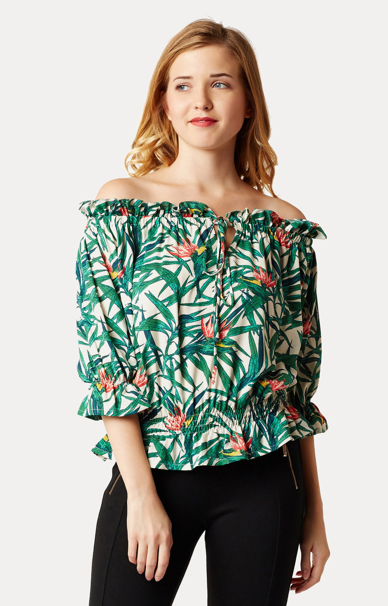 MISS CHASE | Multicoloured Printed Gathered Ruffled Off Shoulder Top