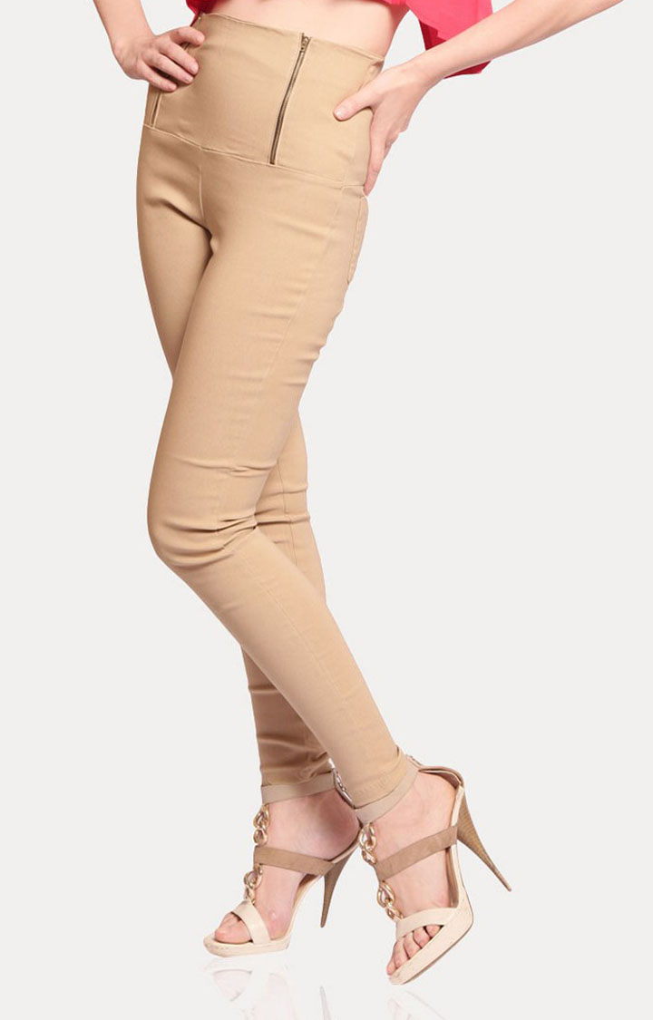 MISS CHASE | Beige Retro High Waist Jeggings
