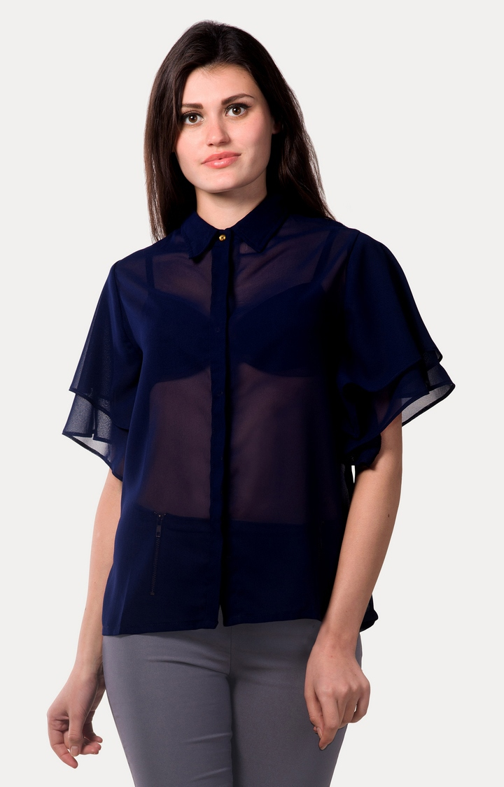 MISS CHASE | Dark Blue Shed Casual Shirt