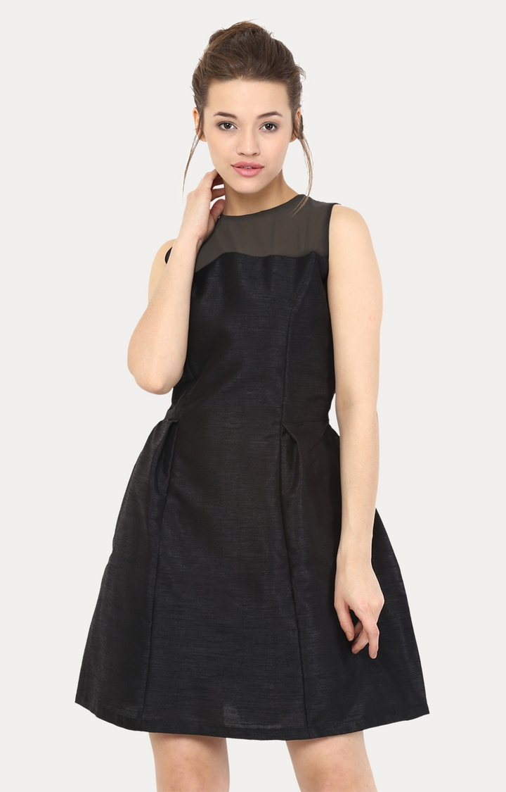 MISS CHASE   Black Falling Hard For You Sheer Panel Skater Dress