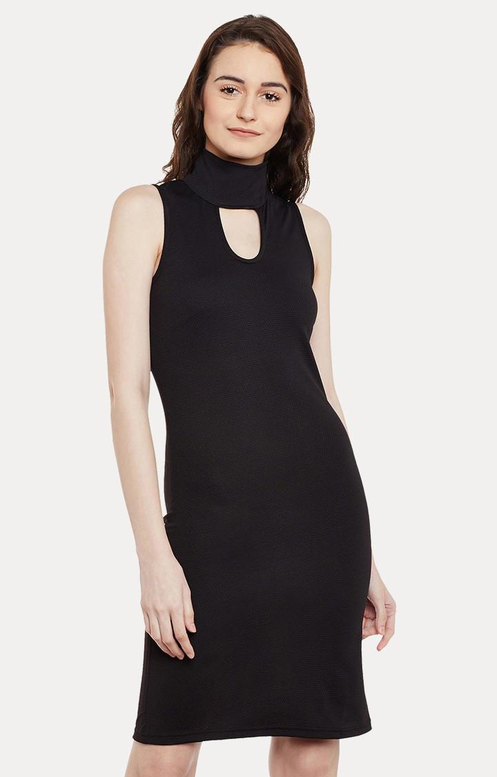 MISS CHASE | Black Solid Sheath Dress