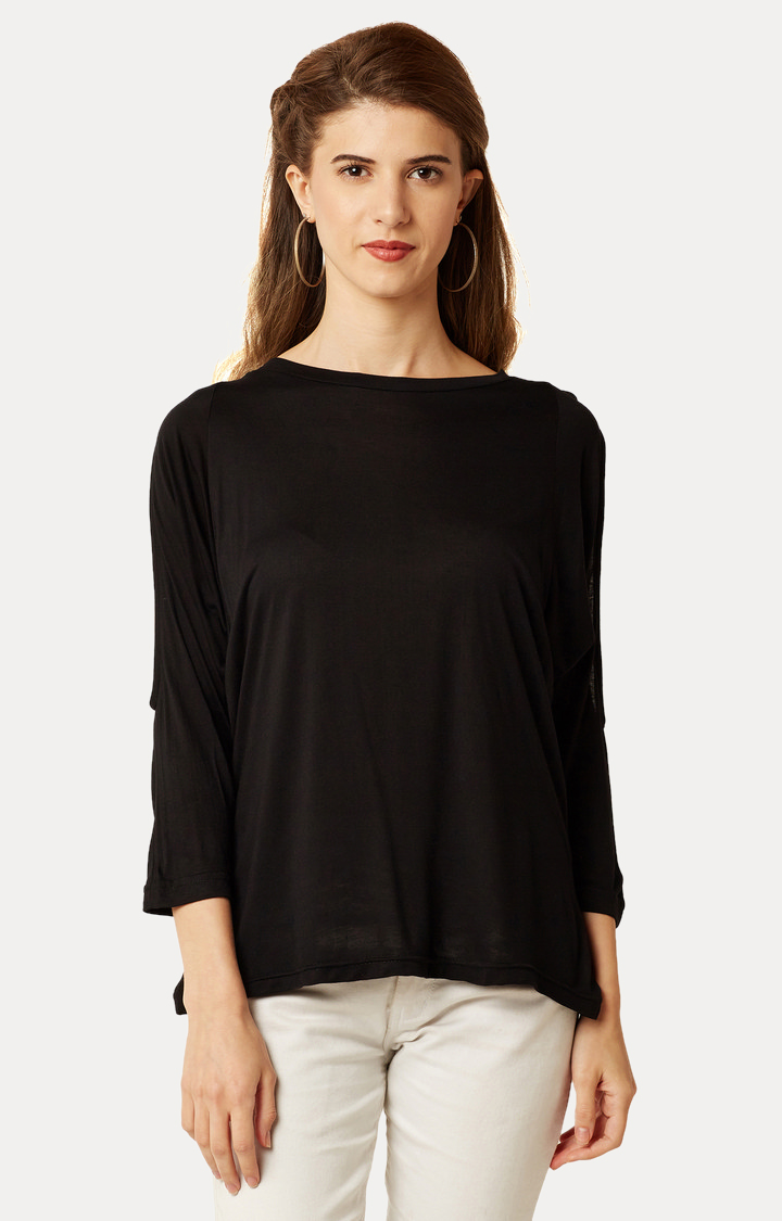 MISS CHASE | Black Round Neck Solid Cut Out Top
