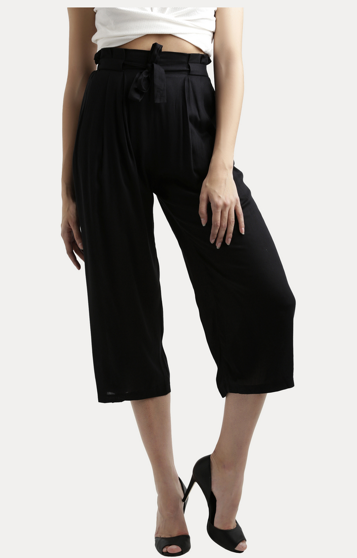 MISS CHASE   Black Solid Gathered Tie-Up Belted Culottes