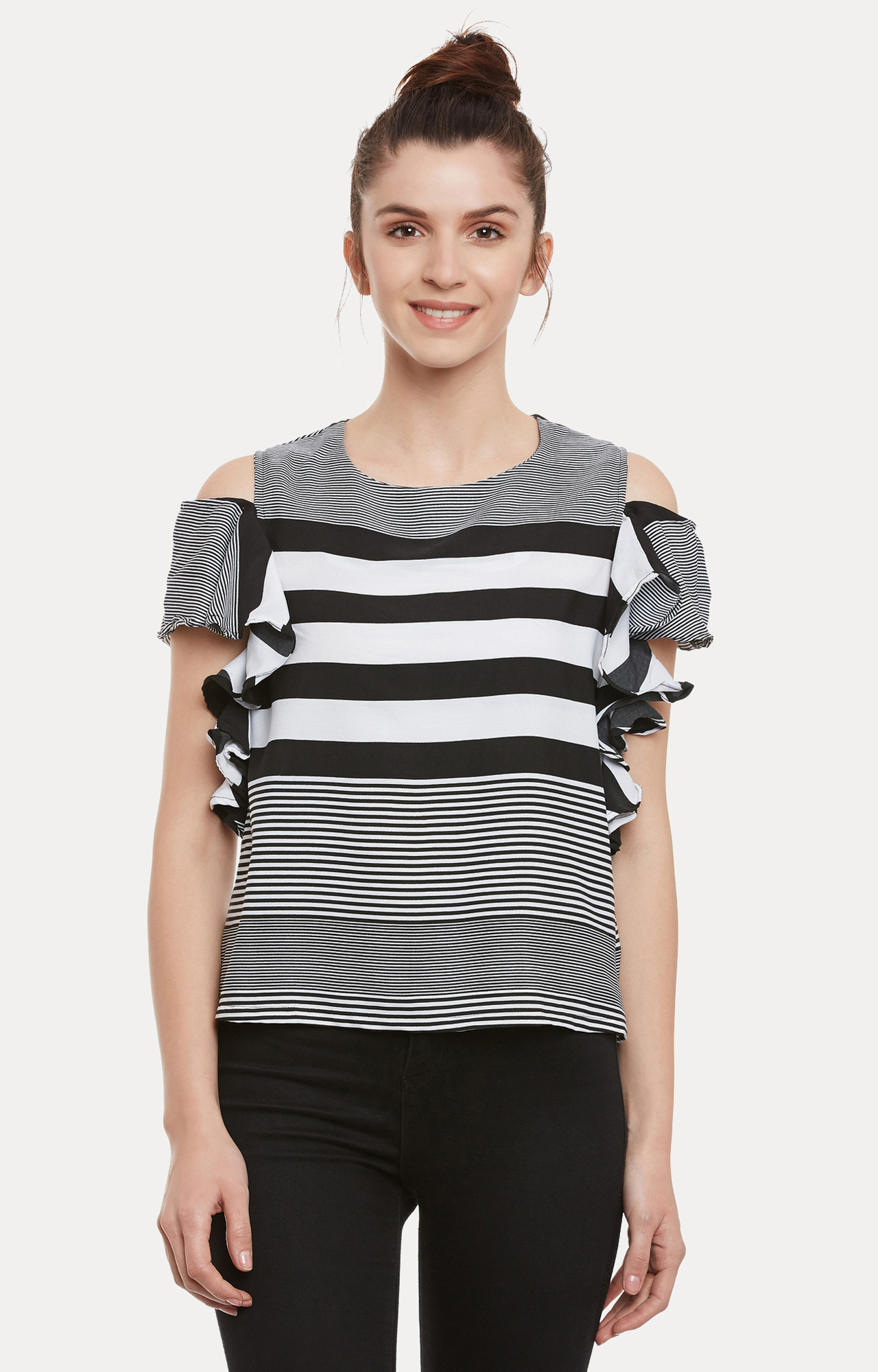 MISS CHASE | Black and White Striped Top