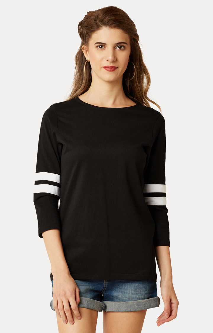 MISS CHASE   Black Round Neck Solid Basic Top