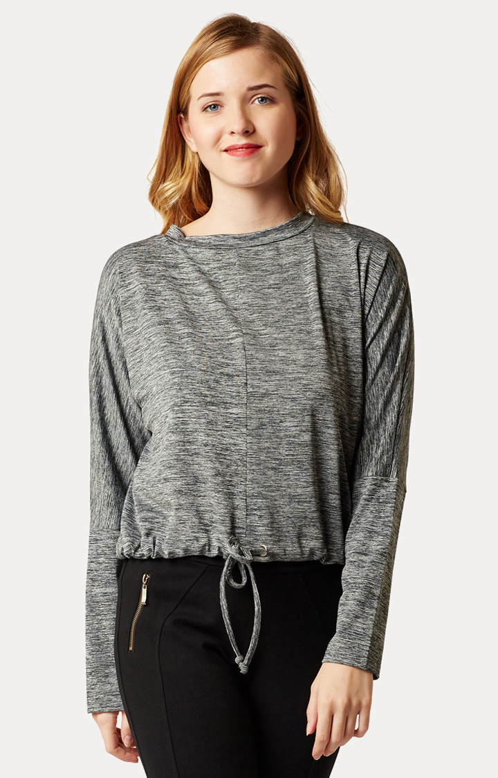 MISS CHASE   Grey Round Neck Tie-Up Basic Top