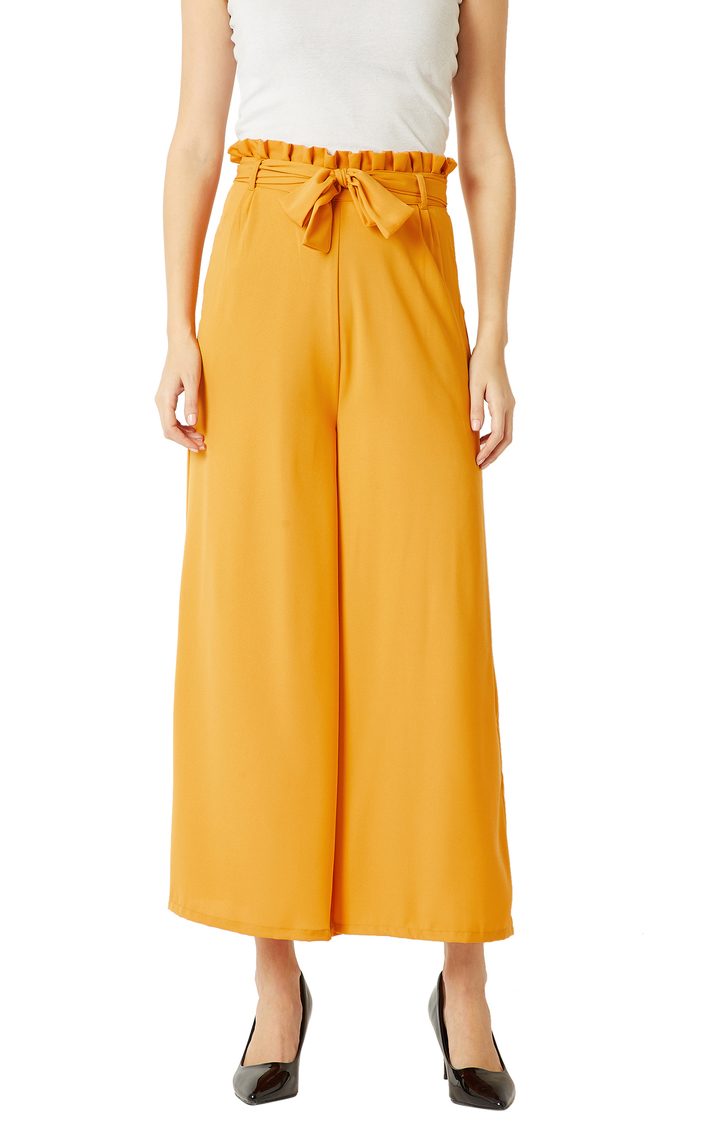 MISS CHASE | Yellow Solid Pleated Wide Leg Paper Bag Trouser