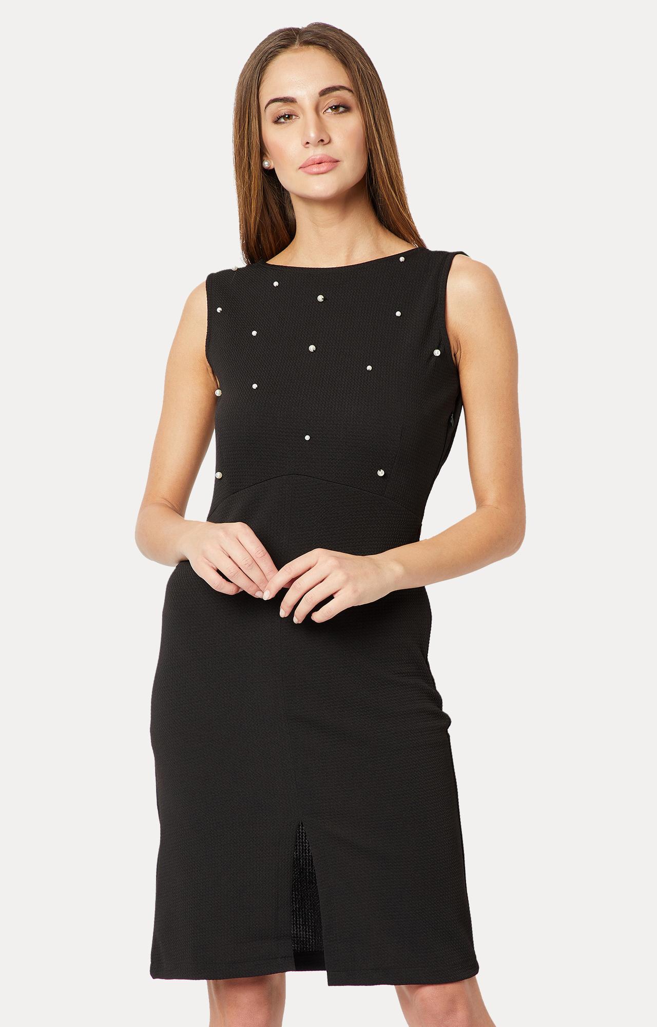 MISS CHASE | Black Solid Front Slit Pearl Detailing Shift Dress