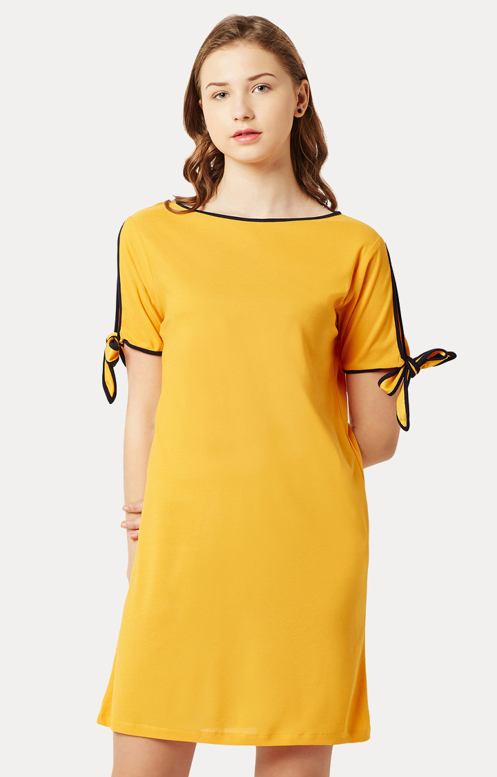 MISS CHASE | Yellow Solid Cut Out Sleeve Mini Shift Dress