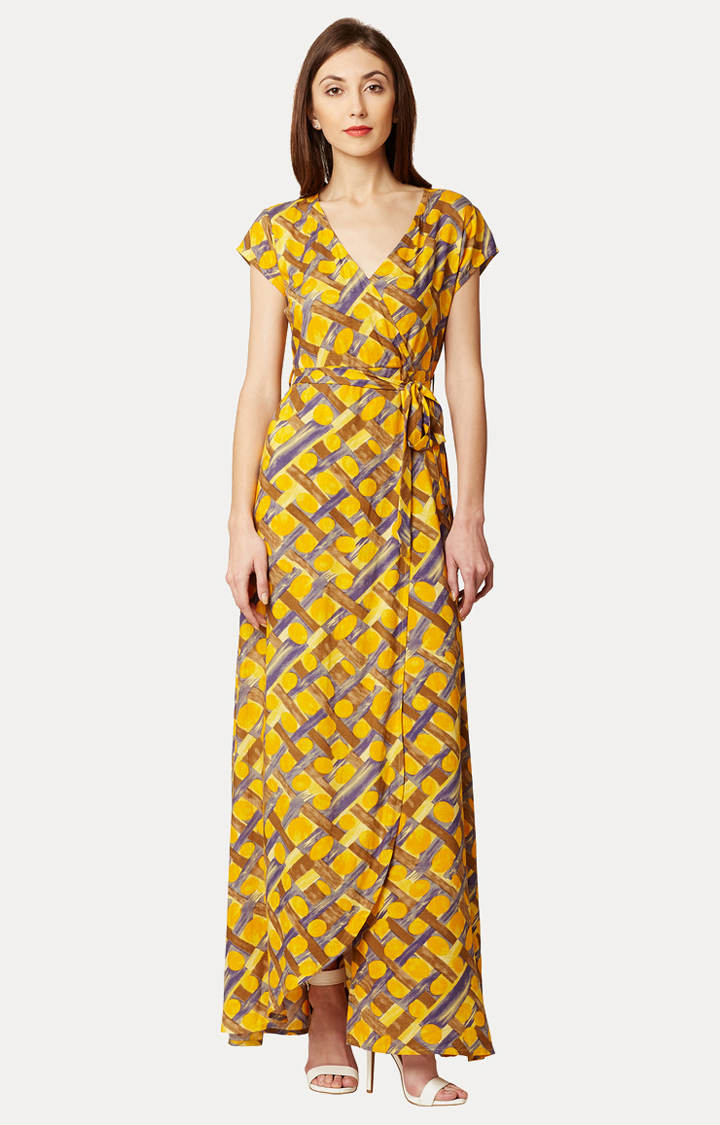 MISS CHASE | Yellow Abstract Print Belted Wrap Maxi Dress