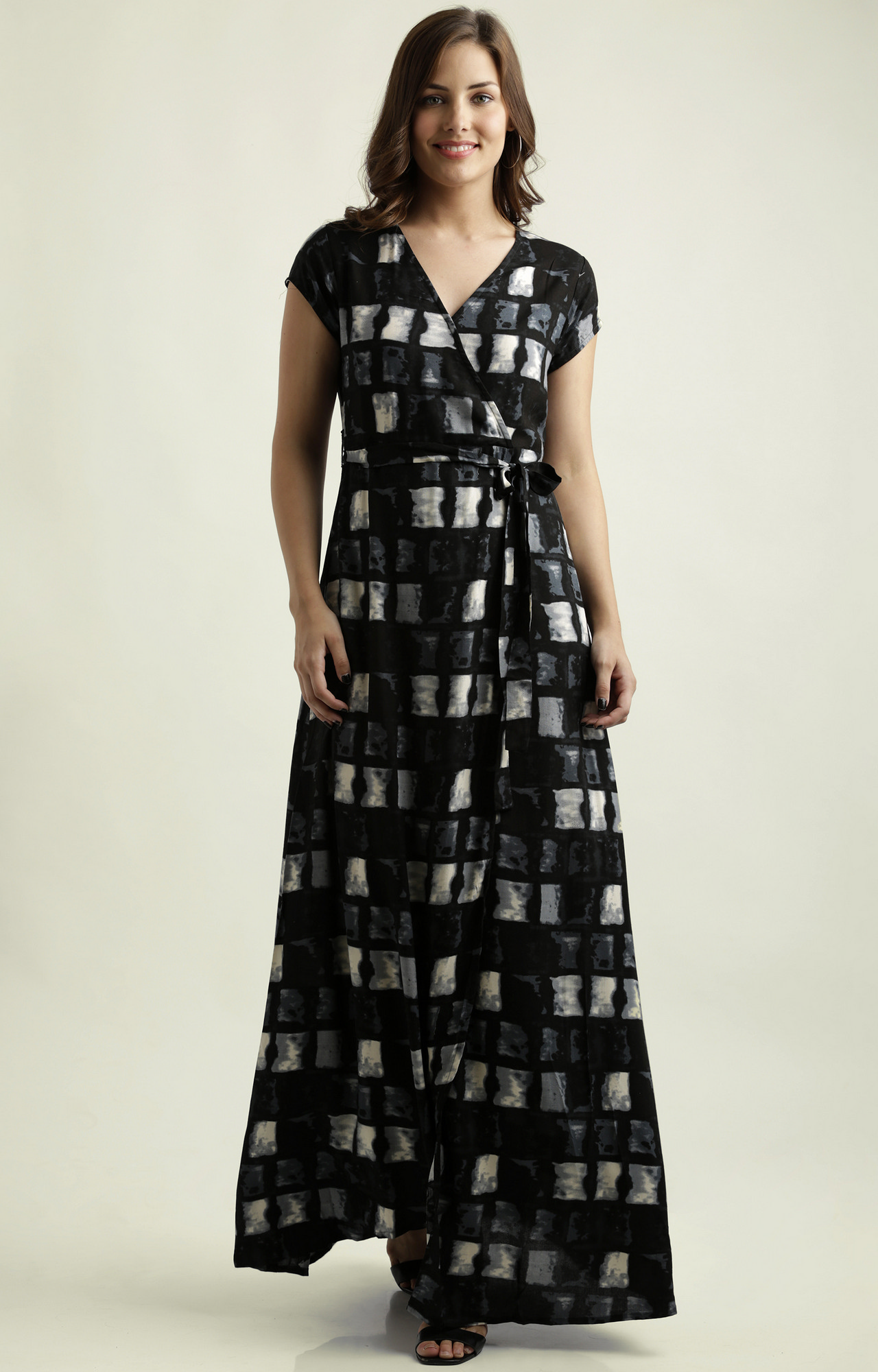 MISS CHASE | Black Belted Wrap Abstract Print Maxi Dress