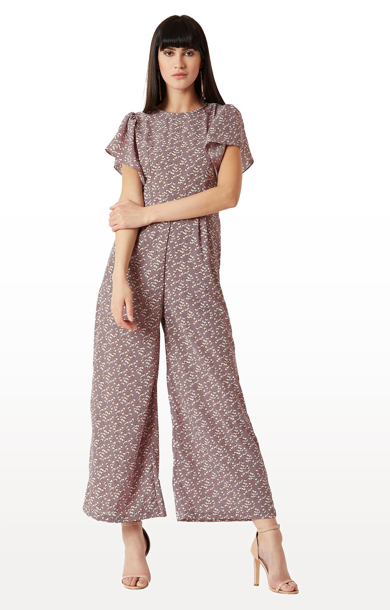 MISS CHASE   Mauve Floral Ruffled Half Sleeve Regular Length Wide Leg Jumpsuit