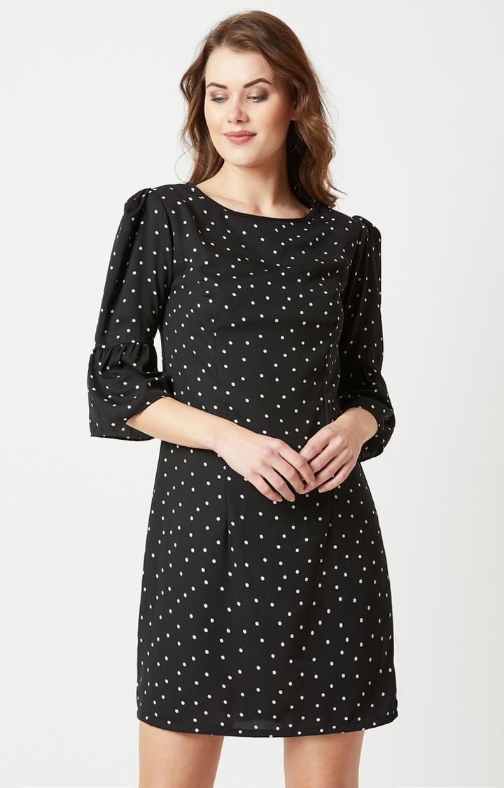 MISS CHASE | Black Printed Shift Dress