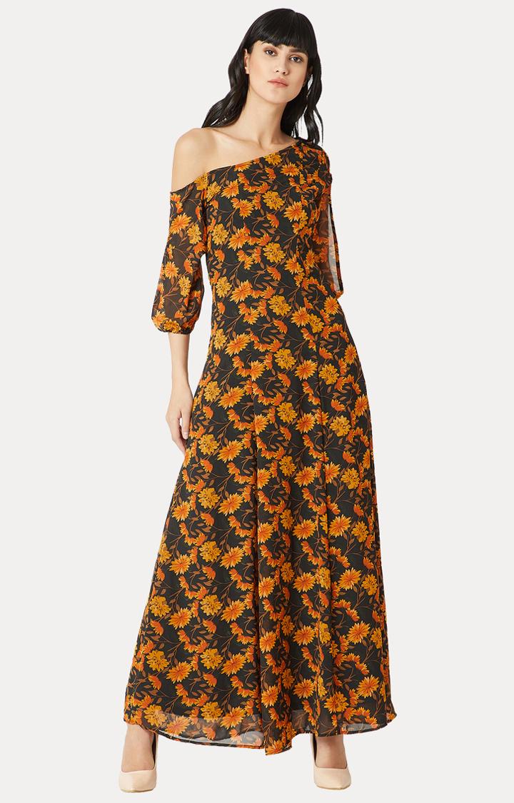 MISS CHASE | Orange One Shoulder Slit Floral Maxi Dress
