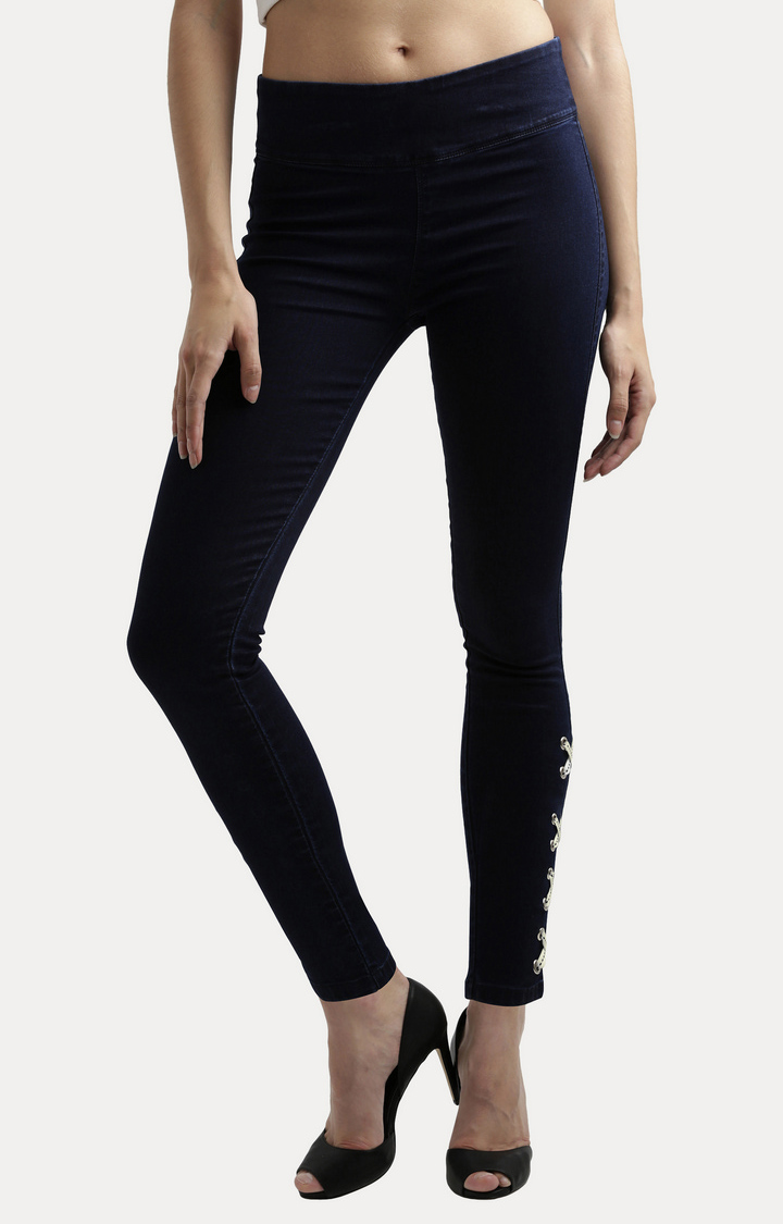 MISS CHASE | Navy Blue Criss Cross Twill Tape Detailing Stretchable Jeggings