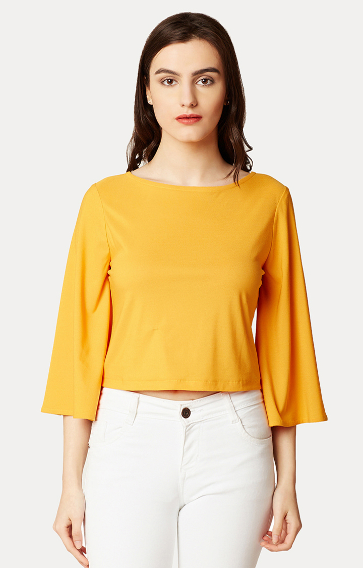 MISS CHASE | Yellow Flared Solid Criss Cross Tie-Up V Back Top