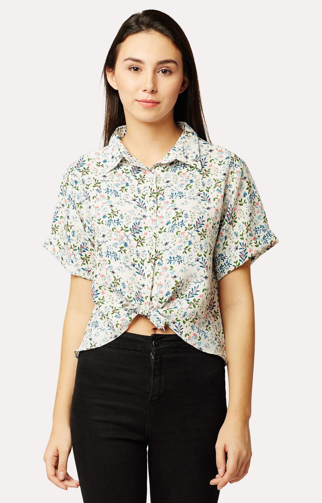 MISS CHASE | Multicoloured Printed High Low Knotted Crop Shirt