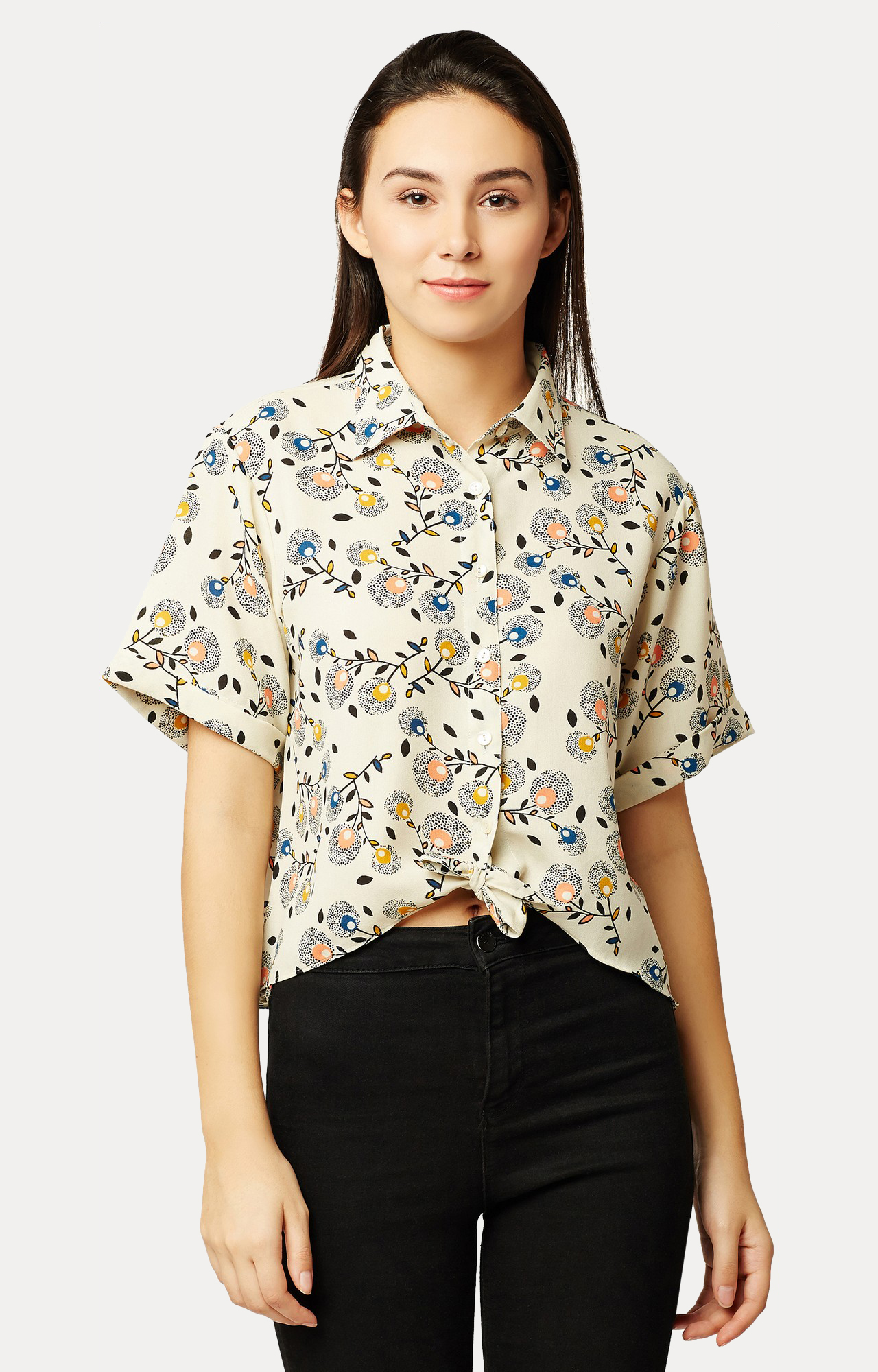 MISS CHASE | Beige Printed High Low Knotted Crop Shirt