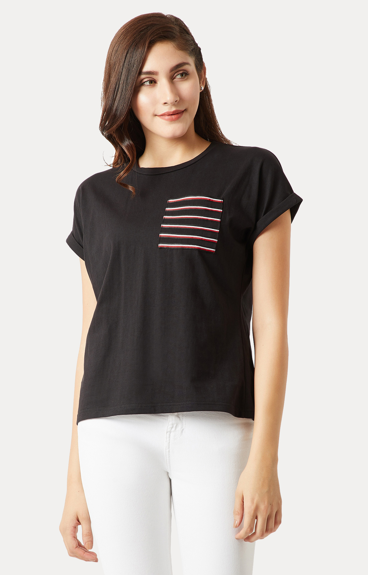 MISS CHASE   Black Solid Twill Pocket T-Shirt