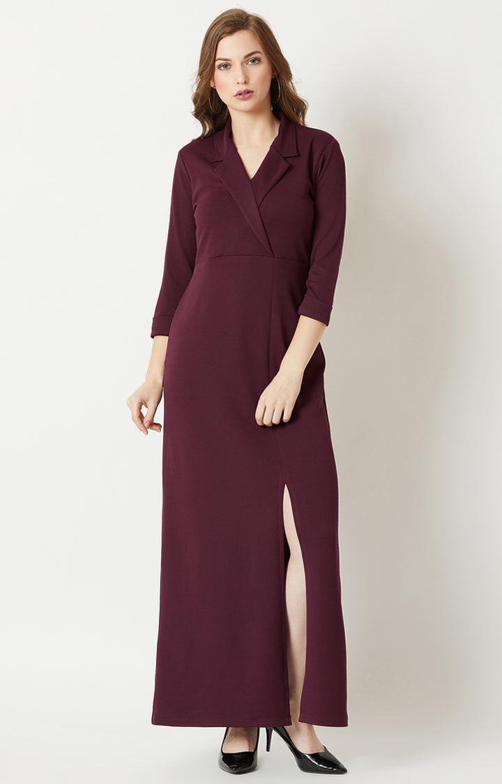 Wine Solid Maxi Dress