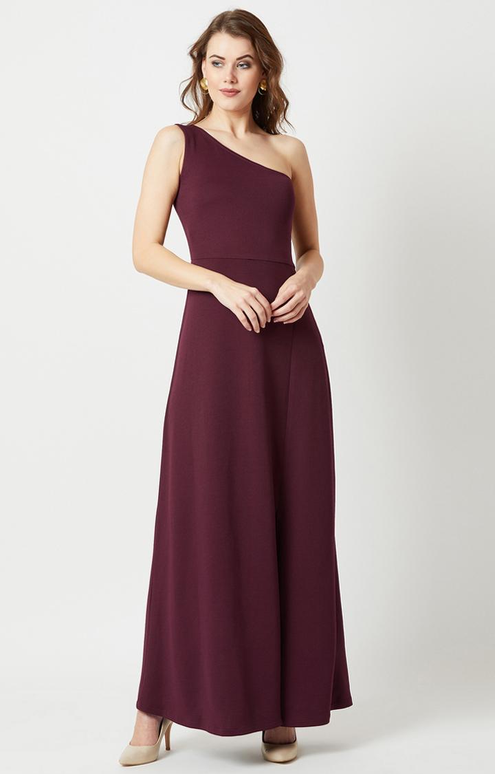 Maroon Solid Maxi Dress