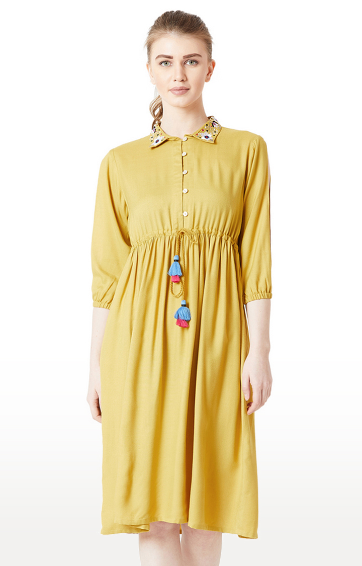 MISS CHASE | Mustard Solid Shift Dress