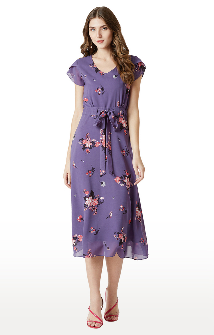 MISS CHASE   Purple Floral Pleated Shift Dress