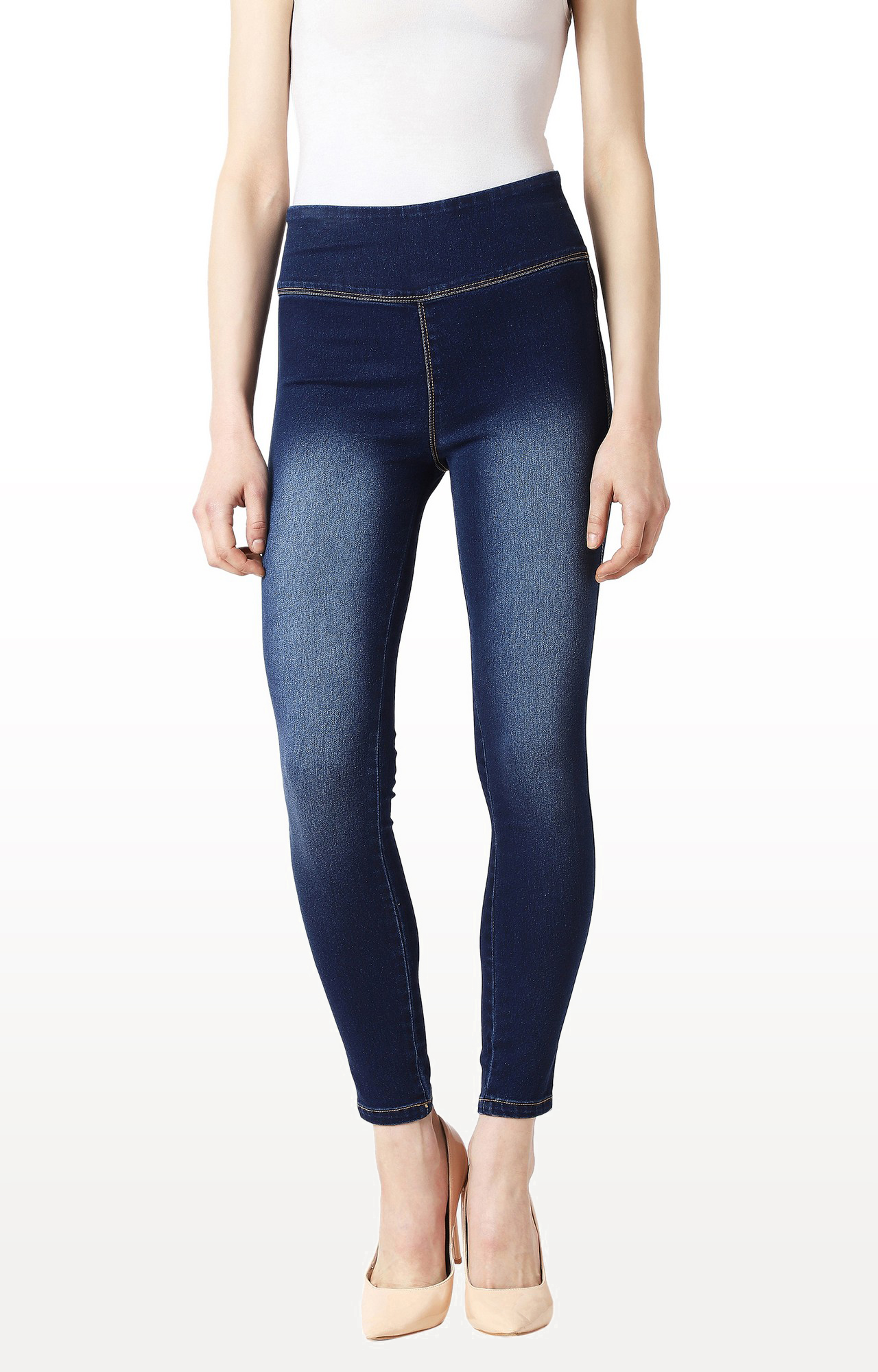 MISS CHASE | Navy Solid High Rise Clean Look Cropped Denim Jeggings