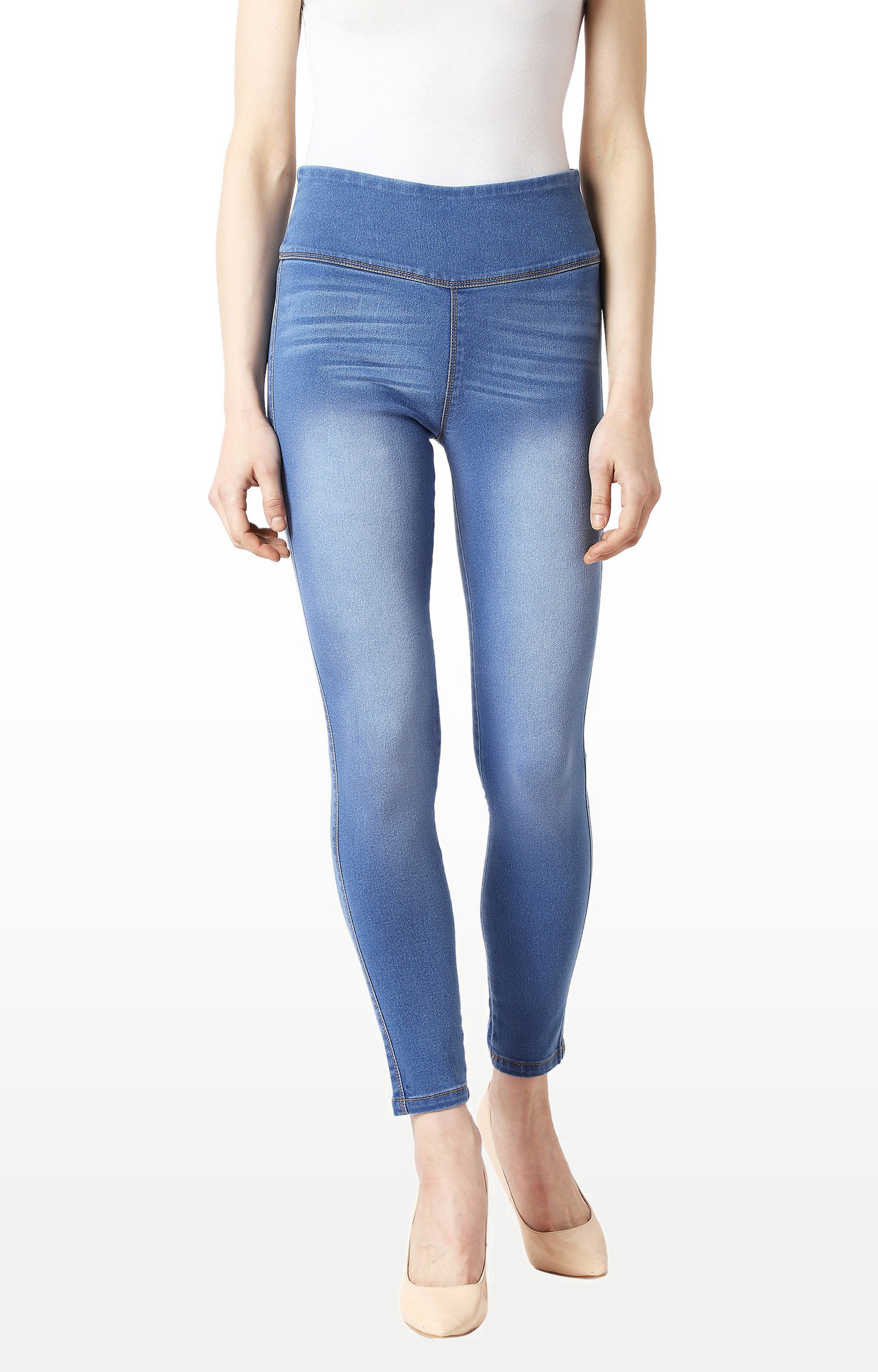 Blue Solid High Rise Clean Look Cropped Denim Jeggings