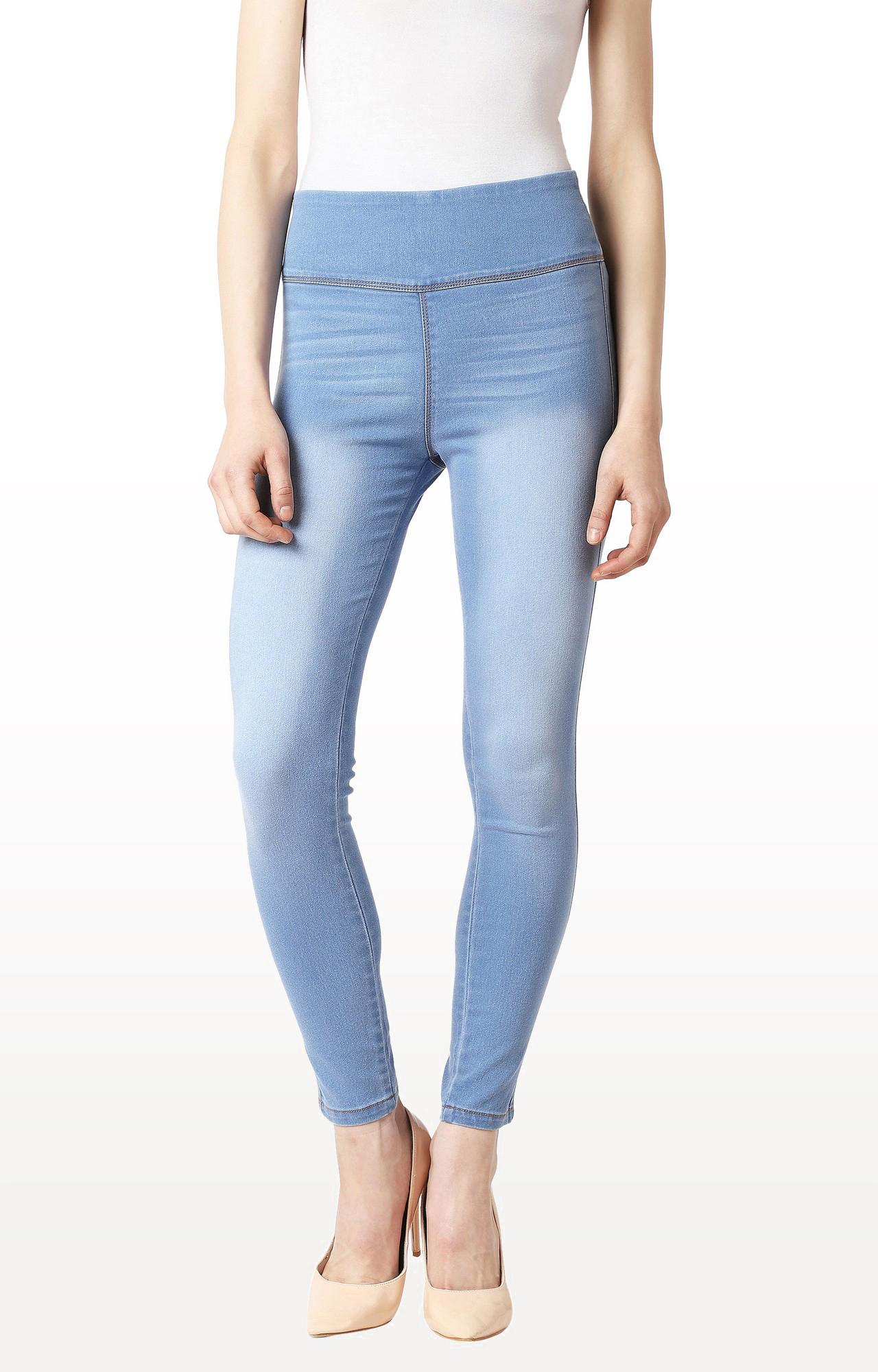 Light Blue Solid High Rise Clean Look Regular Length Denim Jeggings