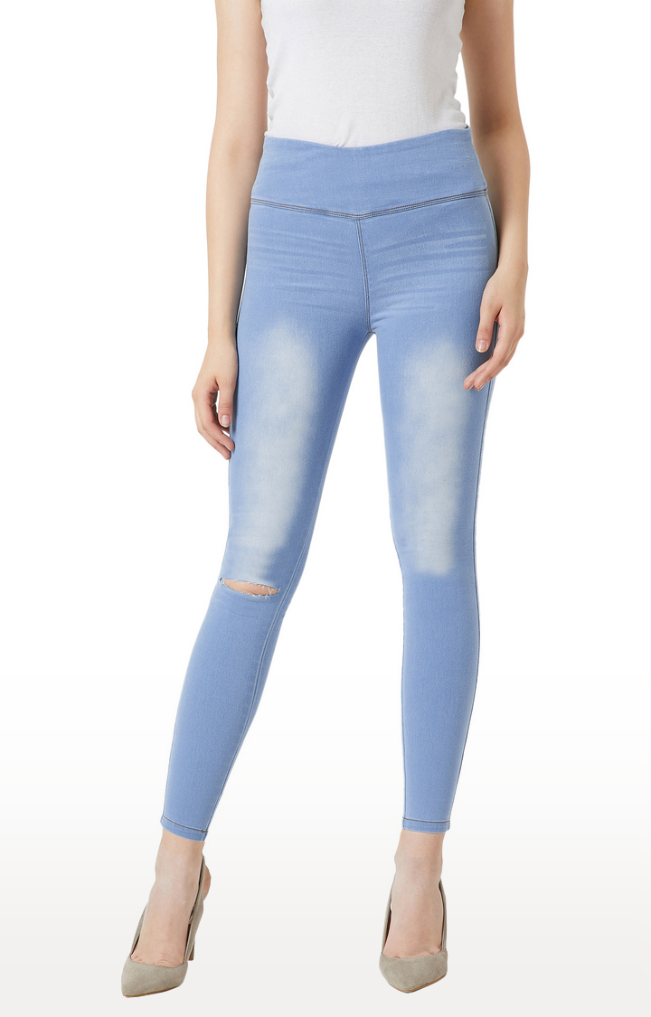 MISS CHASE   Light Blue Skinny Fit High Rise Jeggings