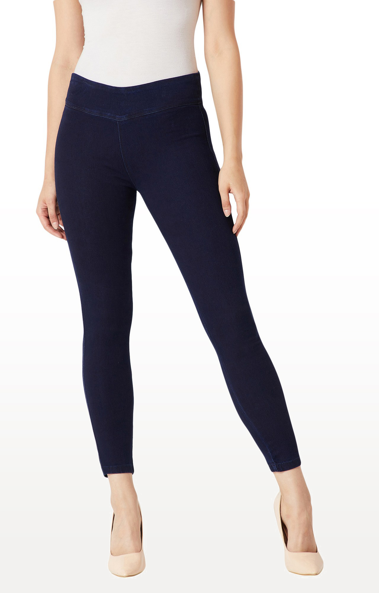 MISS CHASE | Navy Solid High Rise Clean Look Stretchable Denim Jeggings
