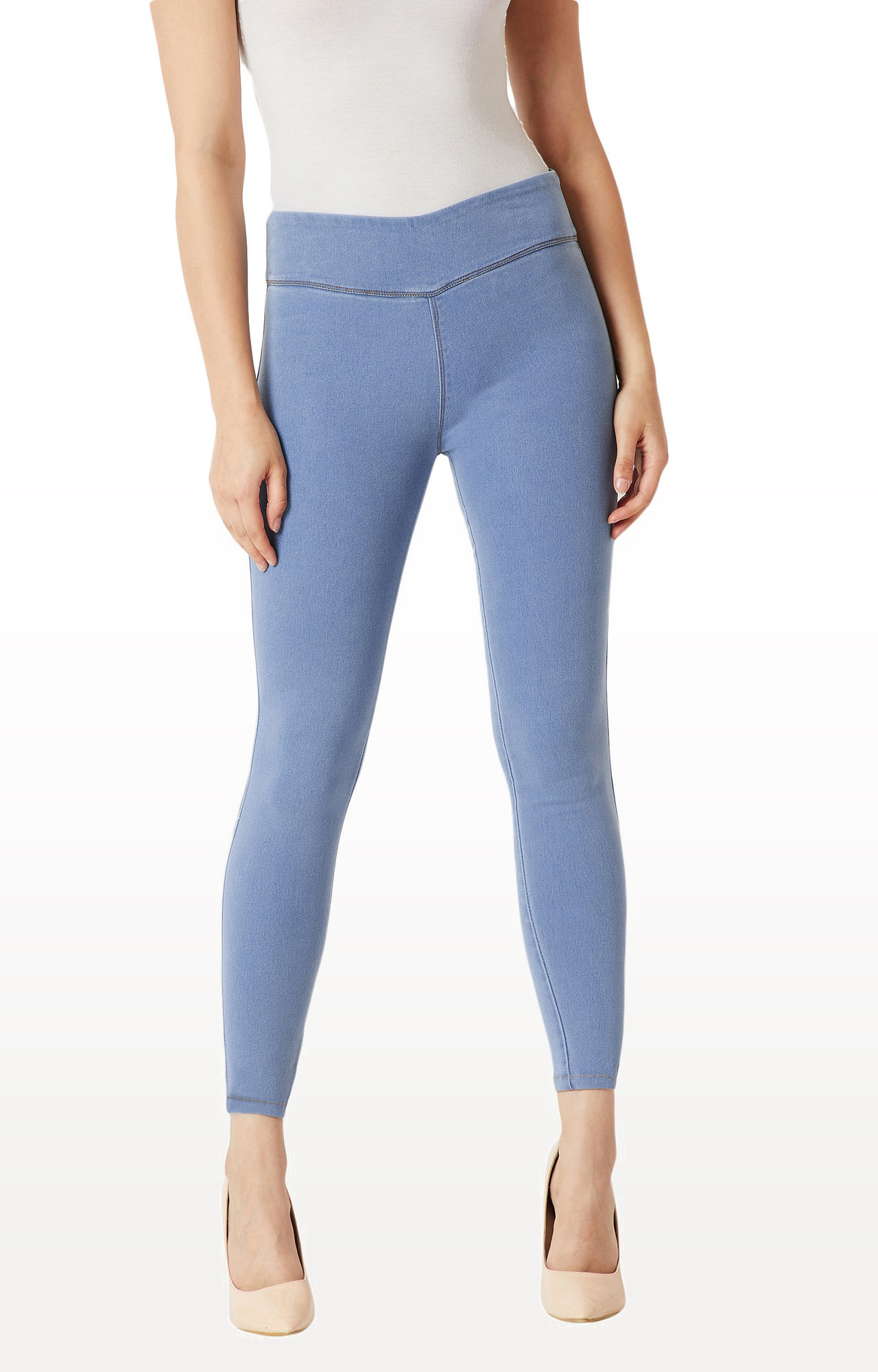 MISS CHASE   Light Blue Solid High Rise Clean Look Stretchable Denim Jeggings