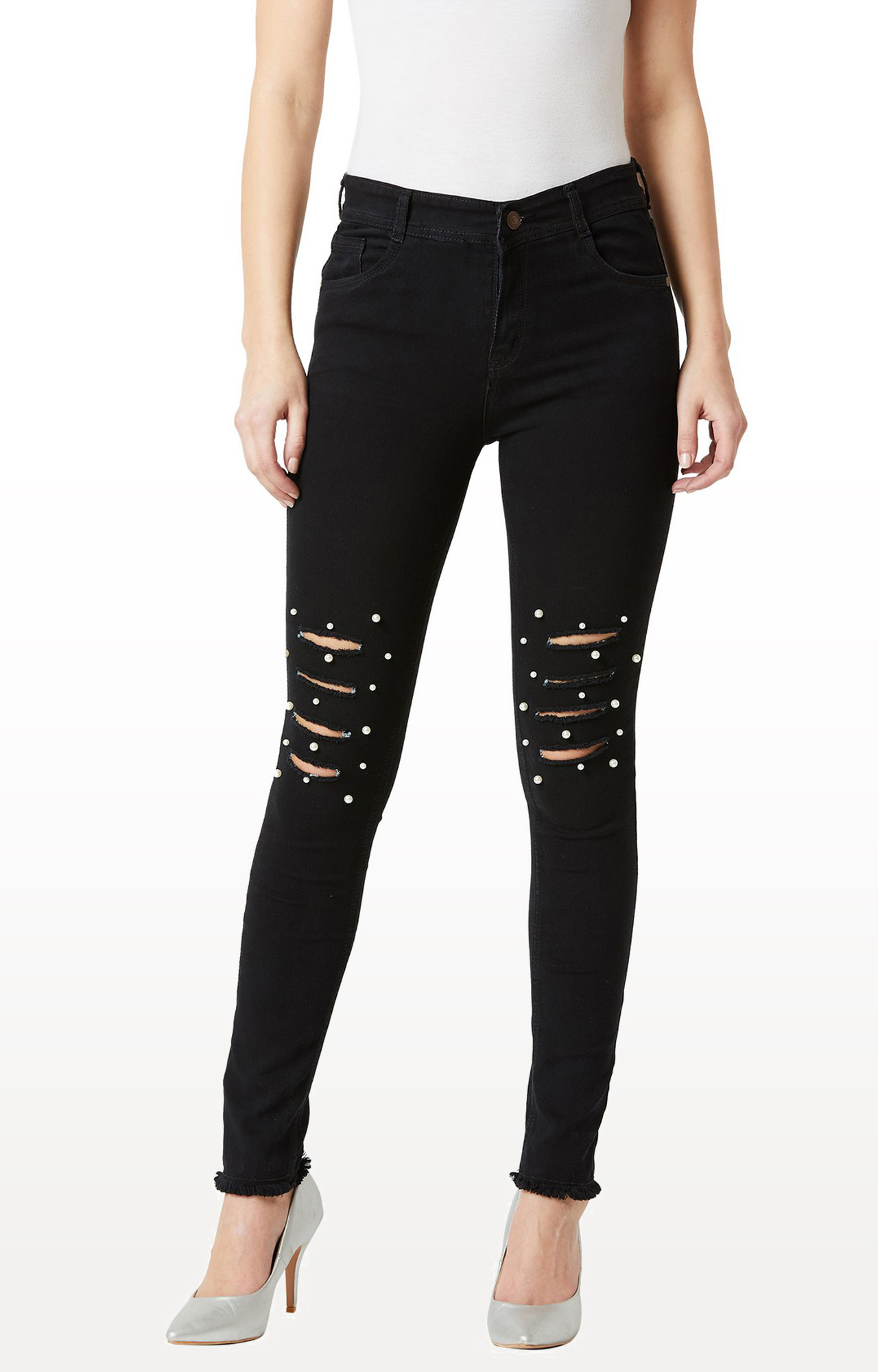 MISS CHASE | Black Ripped Tapered Jeans
