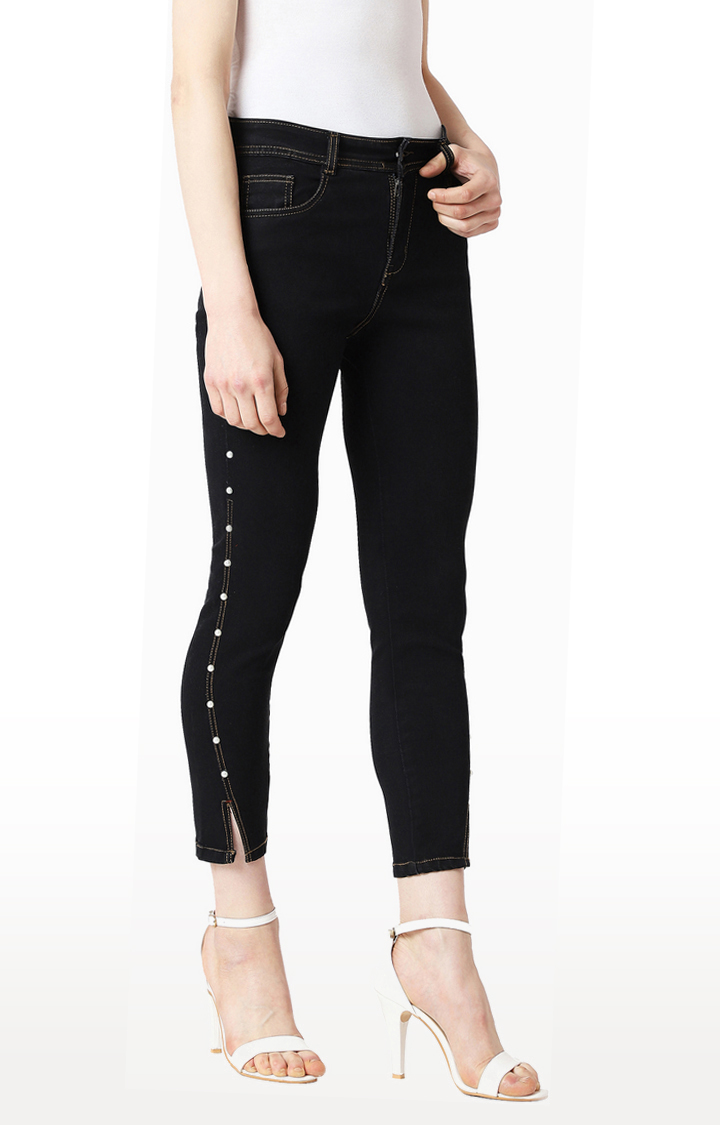 Black Solid Cropped Jeans
