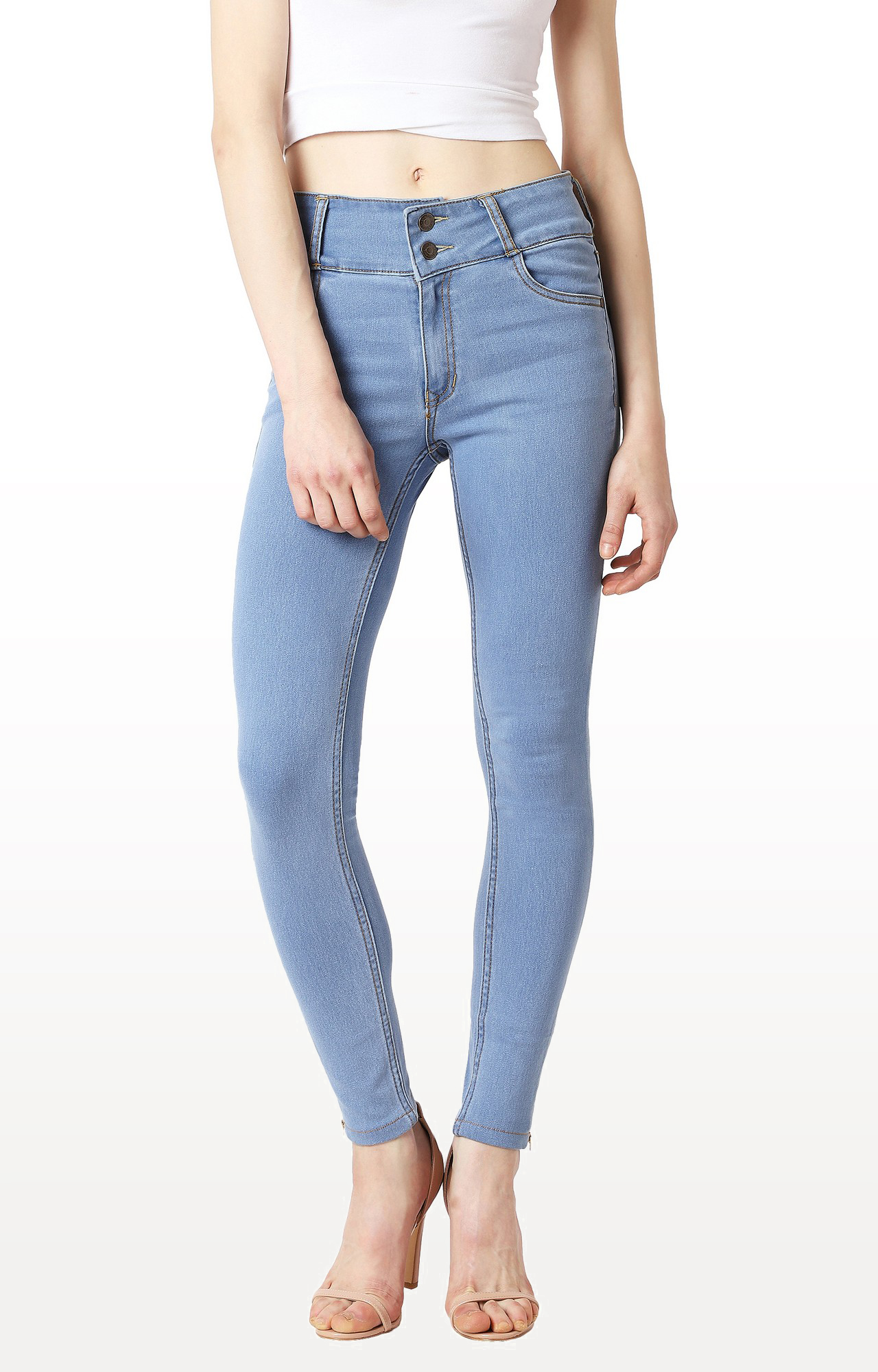 MISS CHASE | Blue Solid High Rise Broad Waist Band Zipper Detailing Clean Look Jeans