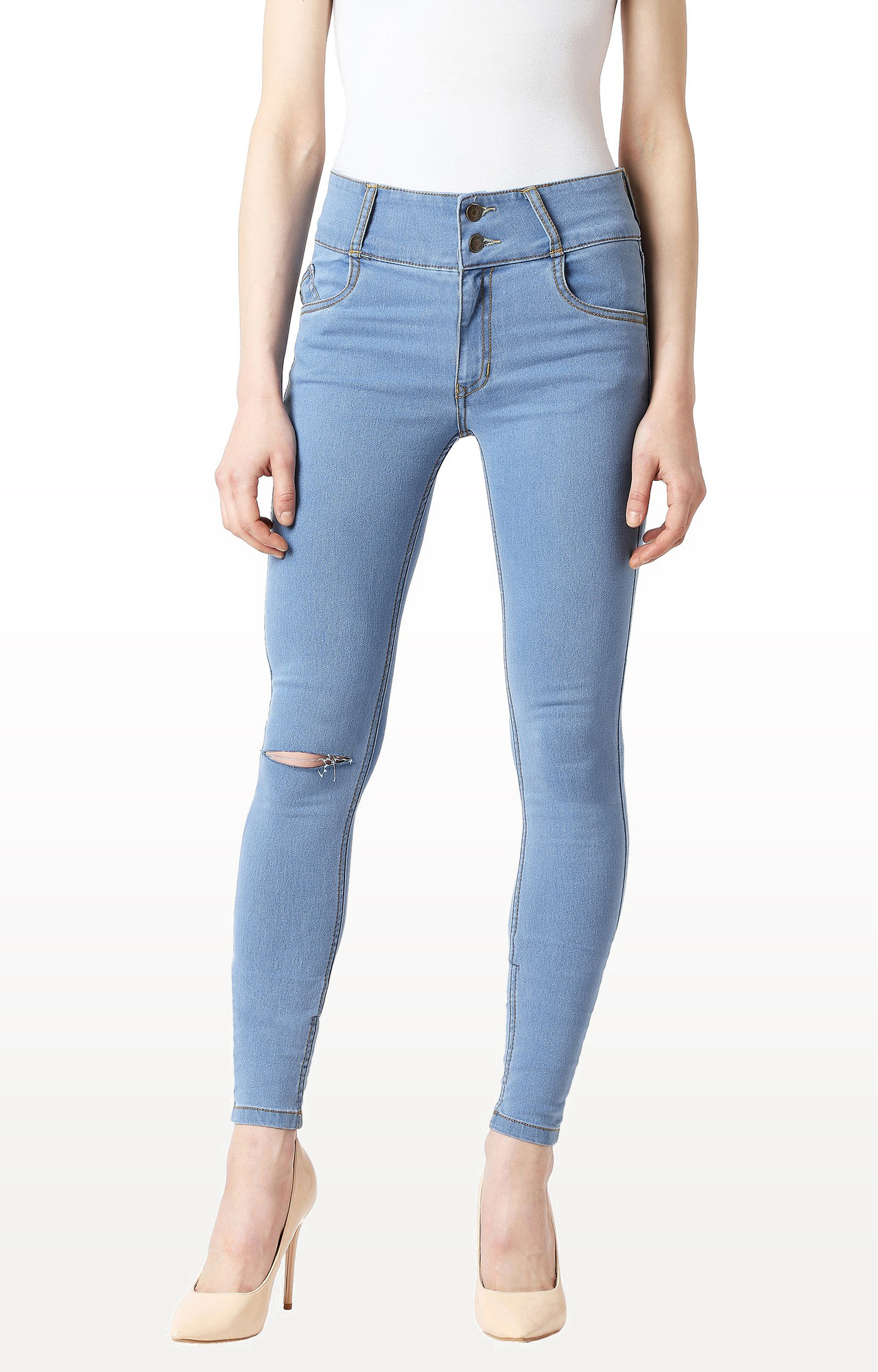 MISS CHASE | Blue Solid High Rise Clean Look Knee Slit Broad Waistband Jeans