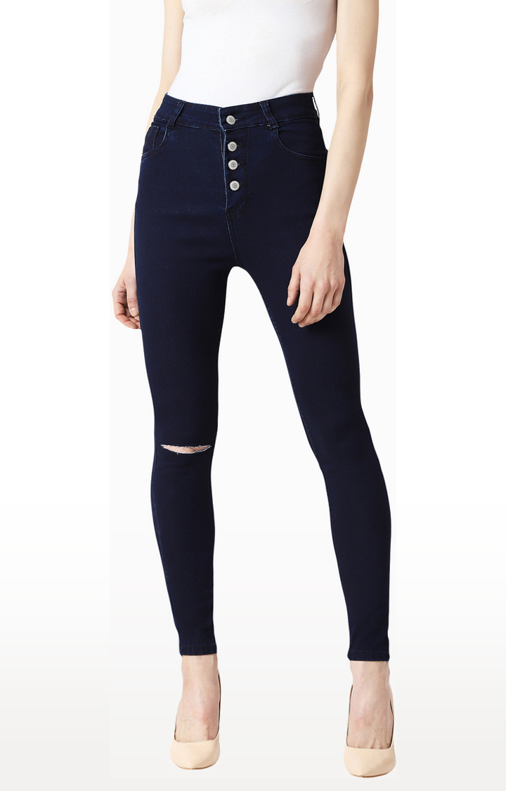 Navy Ripped Tapered Jeans