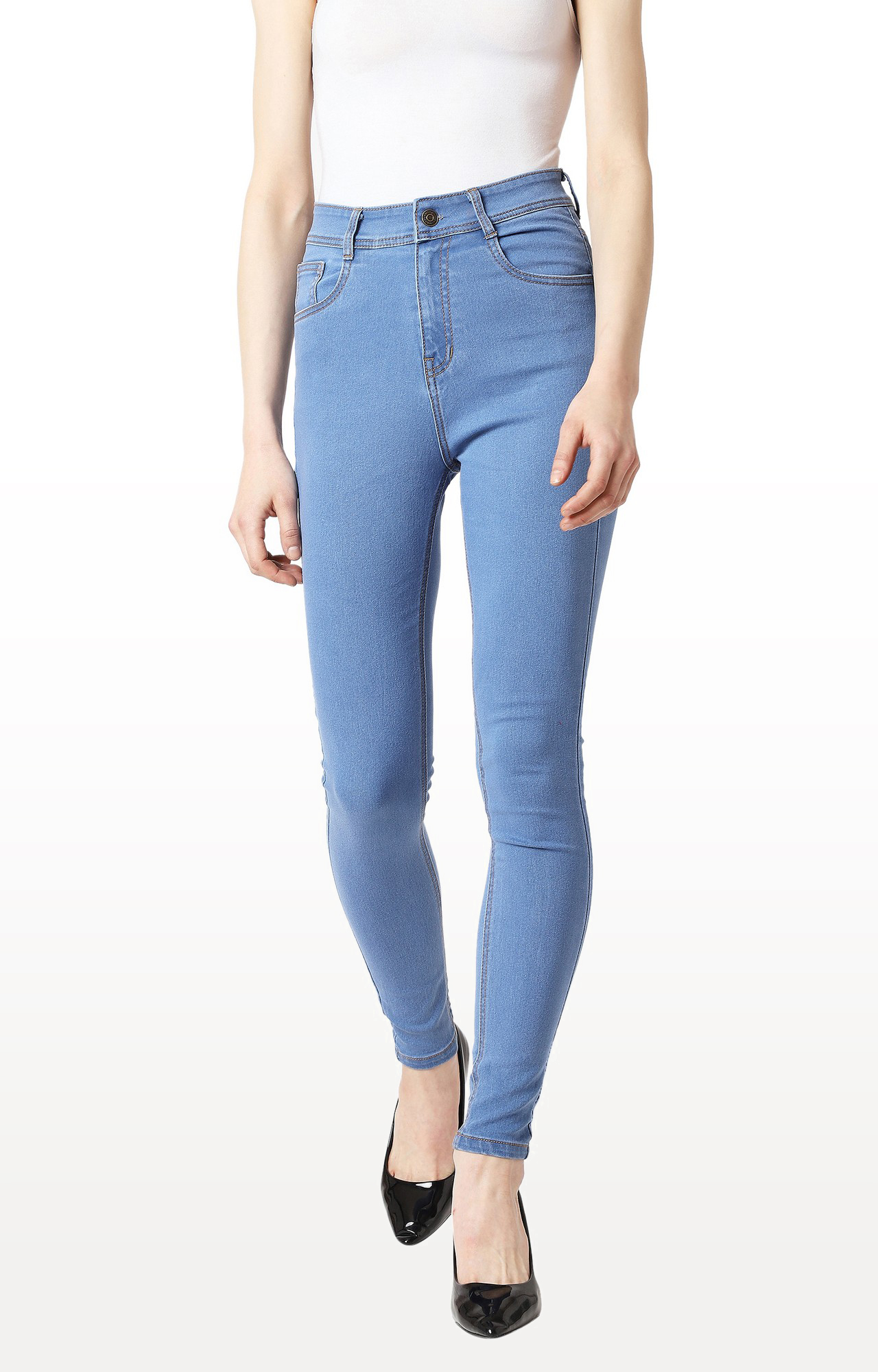 Blue Solid High Rise Distressed Jeans